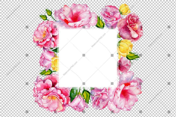Pink Rose Frame Flowers Watercolor Png Design