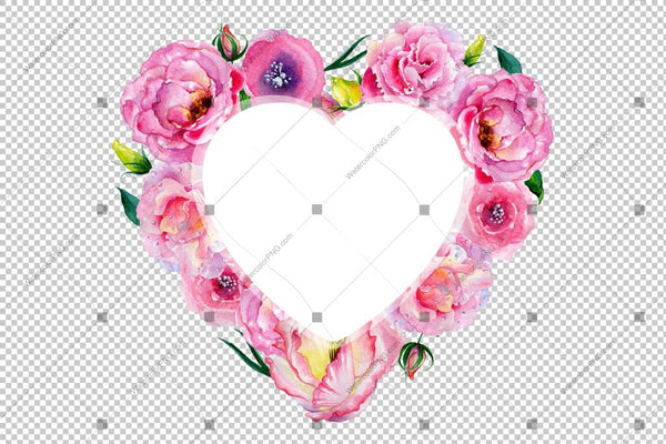 Pink Rose Heart Frame Flowers Watercolor Png Design