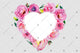 Pink rose heart frame flowers watercolor PNG