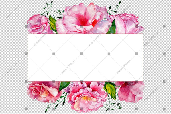 Pink Rose Png Frame Flowers Watercolor Design