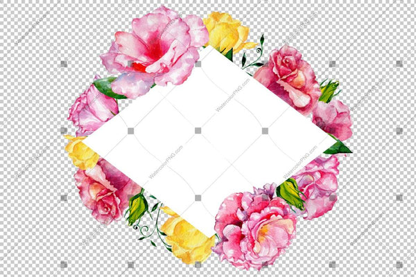 Pink Rose Watercolor Frame Flowers Png Design