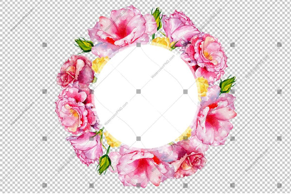Pink Rose Wreath Flowers Frame Watercolor Png Design