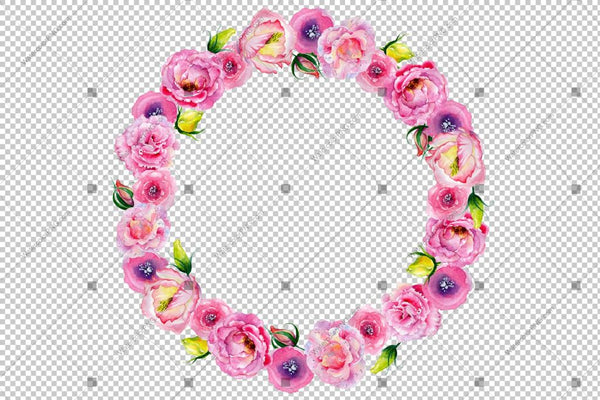 Pink Rose Wreath Frame Flowers Png Watercolor Design