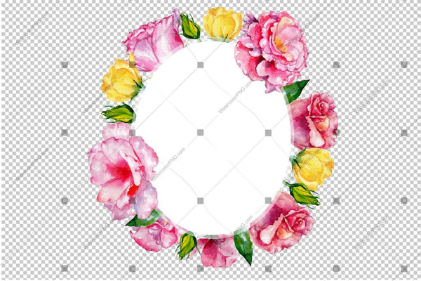 Pink Rose Wreath Frame Png Flowers Watercolor Design