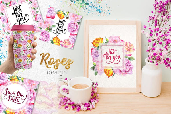 Pink roses collection watercolor png Digital