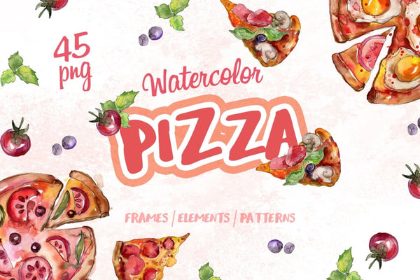 Pizza Watercolor png Digital
