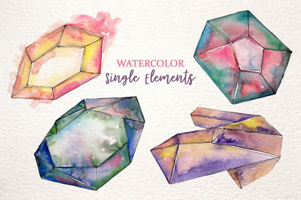 Platinum crystals watercolor png Digital