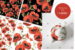 Poppy Field Png Watercolor Set Digital