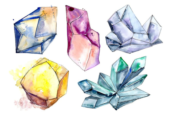 Precious crystals watercolor png Flower