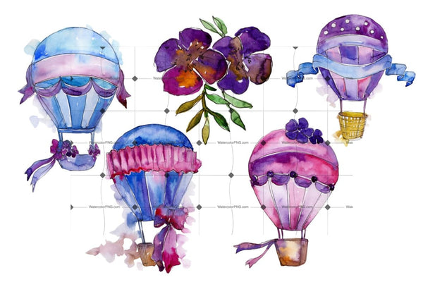 Purple Balloons Png Watercolor Set Digital