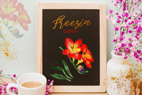 Purple Freesia flower Watercolor png Digital