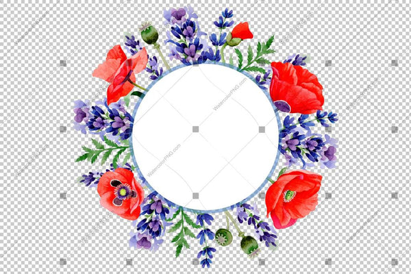 Purple Lavender And Red Poppy Frame Wreath Flowers Watercolor Png Design
