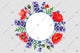 Purple lavender and red poppy frame wreath flowers watercolor PNG