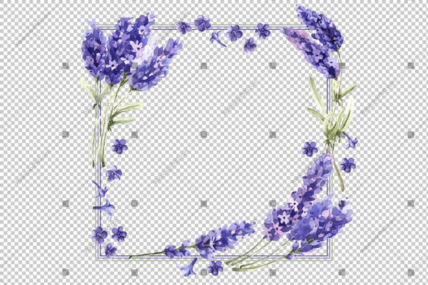 Purple Lavender Flowers Frame Watercolor Png Design