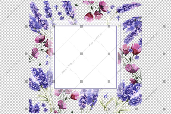 Purple Lavender Frame Flowers Watercolor Png Design