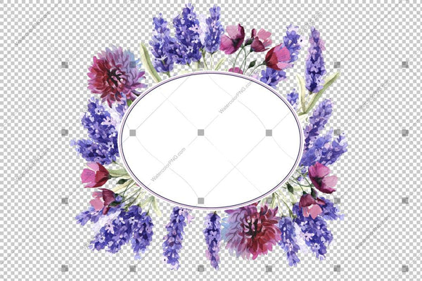 Purple Lavender Frame Wreath Flowers Watercolor Png Design