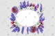 Purple lavender frame wreath flowers watercolor PNG