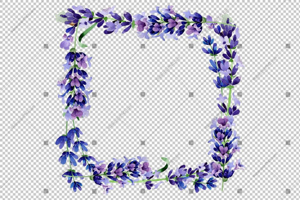 Purple Lavender Sprig Frame Flowers Watercolor Png Design
