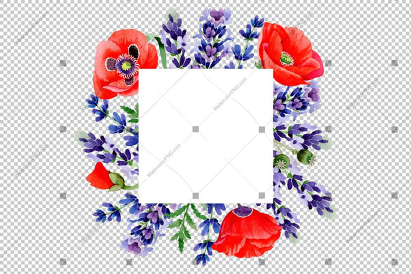 Purple Lavender Sprig With Poppy Frame Flowers Watercolor Png Design