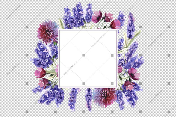 Purple Lavender Watercolor Frame Flowers Png Design