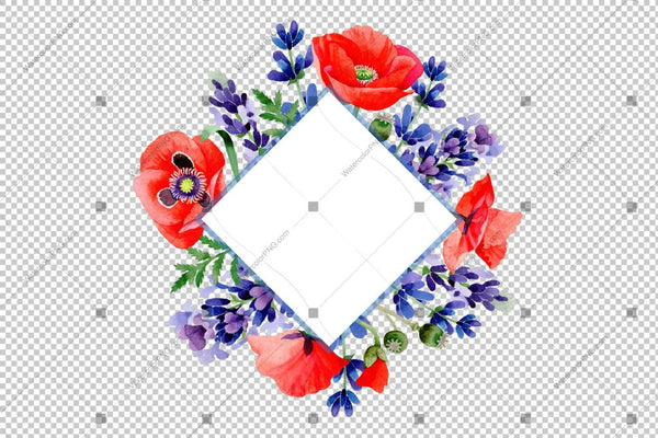 Purple Lavender With Red Poppy Frame Watercolor Flowers Png Design
