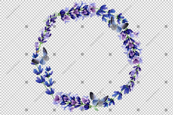 Purple Lavender Wreath Frame Flowers Watercolor Png Design
