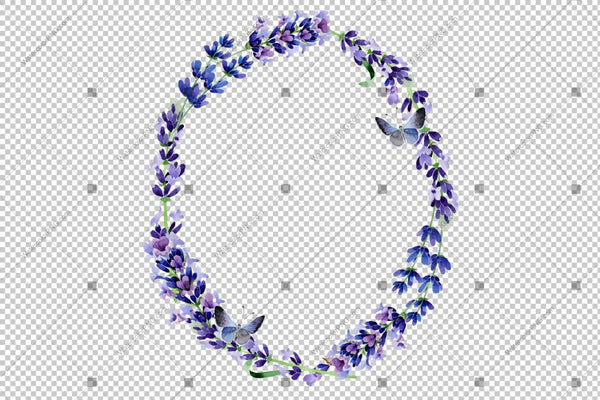Purple Lavender Wreath Png Frame Flowers Watercolor Design