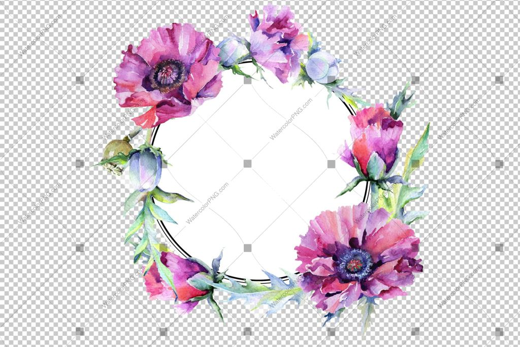 Purple Rose Wreath Frame Flowers Watercolor Png Design