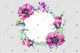 Purple peony wreath frame flowers watercolor PNG