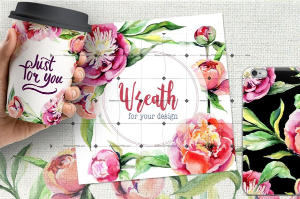 Red Peony Flowers Png Watercolor Set Digital