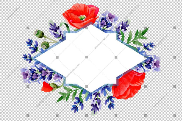 Red Poppy And Purple Lavender Frame Flowers Watercolor Png Design