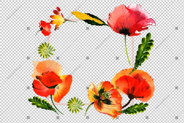 Red Poppy Frame Flowers Watercolor Png Design