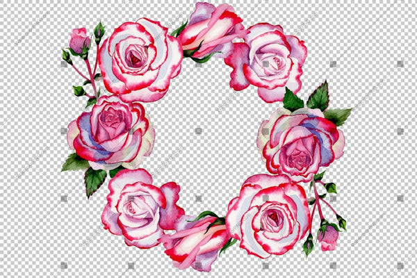 Red Rose Wreath Frame Blommor Akvarell Png Design