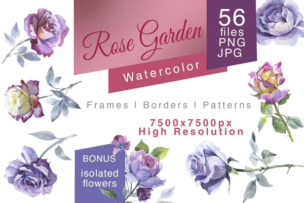 Rose Garden Png Watercolor Set Digital