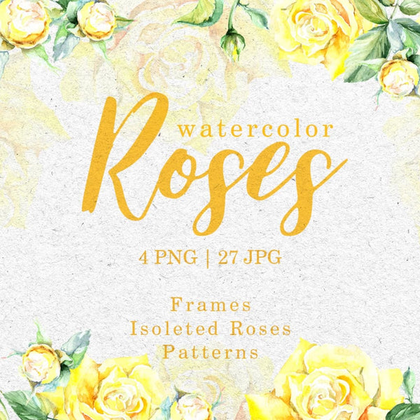 Roses Bright yellow Watercolor png Digital