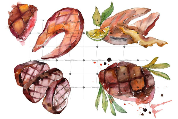 Salmon Fish Steaks Png Watercolor Set Digital
