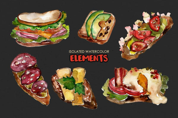 Sandwich Croc-Monsieur Watercolor png Digital