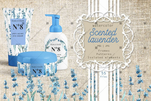 Scented Lavender Png Watercolor Flower Set Digital