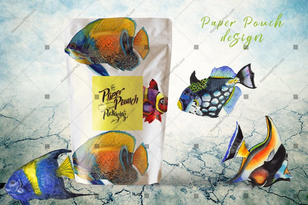 Sea Fishes Png Watercolor Set Digital