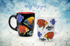 Laut Ikan Png Watercolor Set Digital