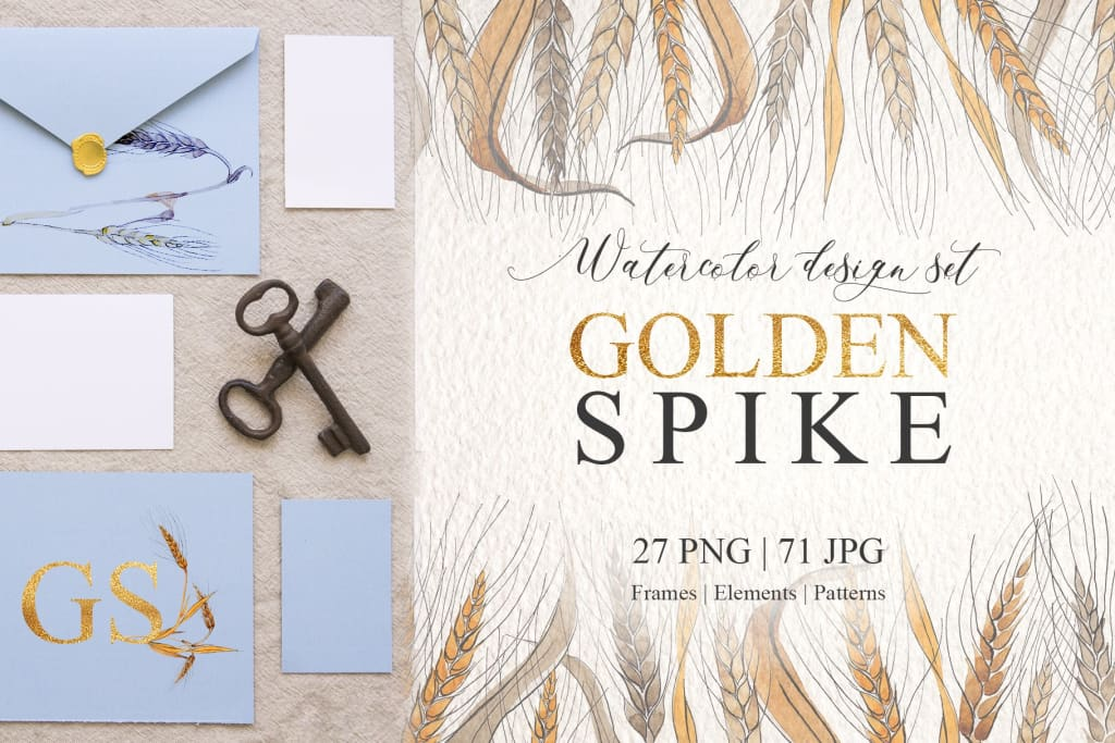 Spike Watercolor design set png Digital