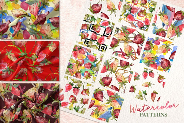 Strawberry collection Watercolor png Flower