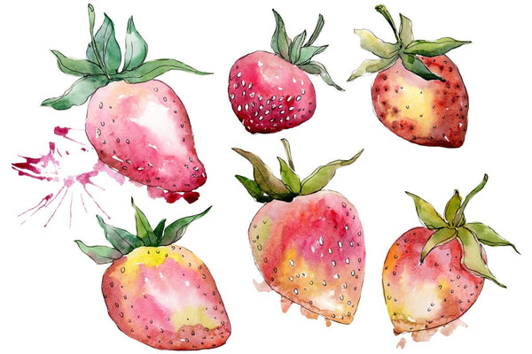 Strawberry Gigantella watercolor png Flower