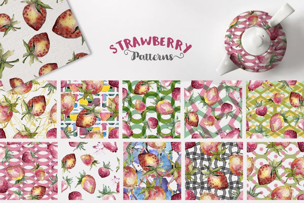 Strawberry Watercolor png Digital