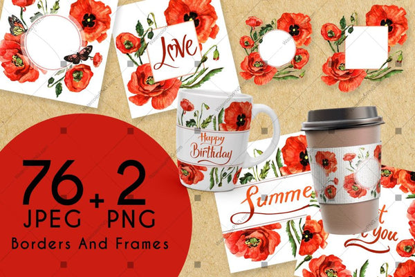 Stunning Poppies Png Watercolor Set Digital