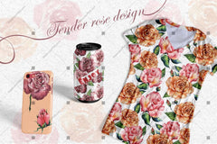 Stunning Roses Png Watercolor Set Digital