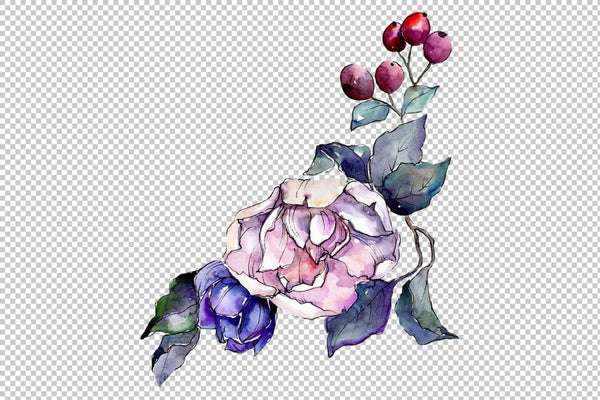 Stylish bouquet of flowers Cleopatra watercolor PNG Flower