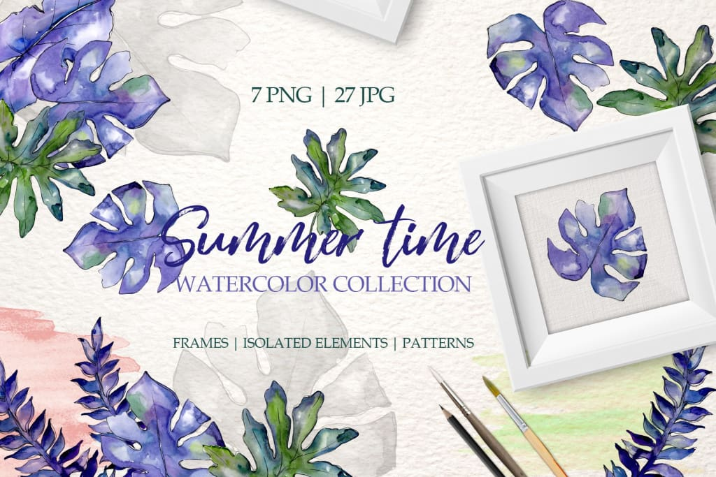 Summertime Watercolor png Digital
