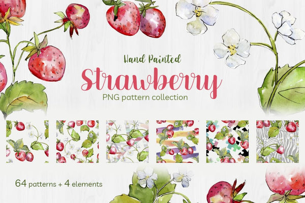 Sweet Watercolor Strawberry PNG Digital