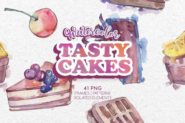 Tasty cakes Watercolor png Digital